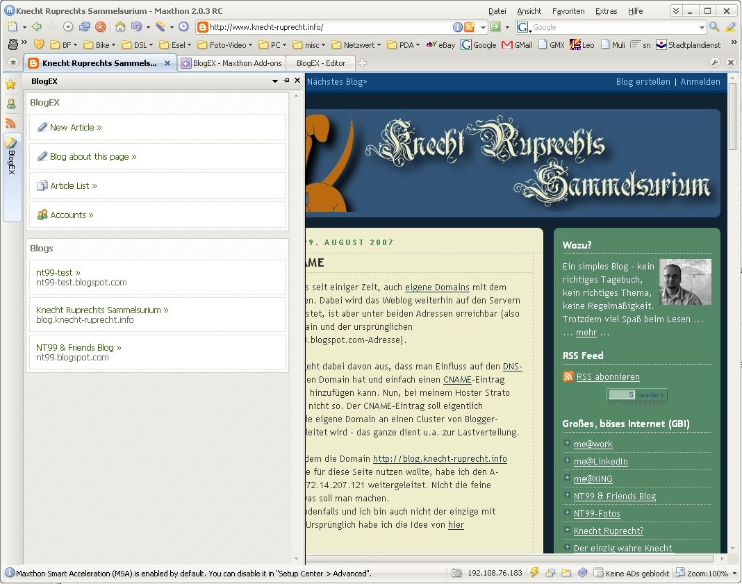 Screenshot BlogEX Sidebar