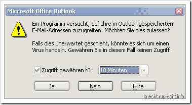 Outlook: Sicherheitswarnung