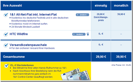 1&1 All-Net-Flat plus Internet und HTC Wildfire