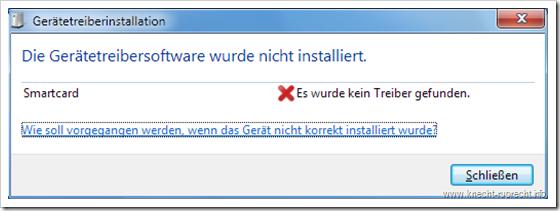 Smartcrad: Die Gerätetreibersoftware wurde nicht installiert!