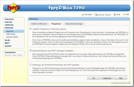 UPnP-Einstellungen ion der FRITZ!Box