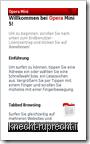 Opera Mini 5 - Willkommensbildschirm