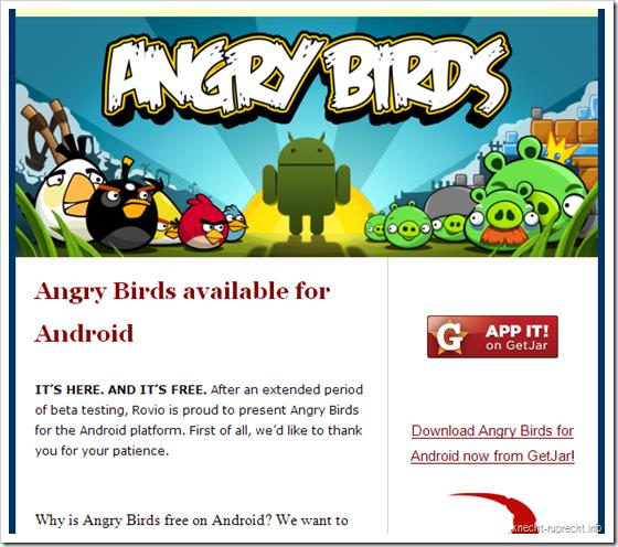 Angry Birds für Android für lau!
