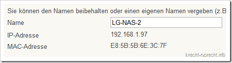 LG NAS N2A2: IP-Adresse in der FRITZ!Box