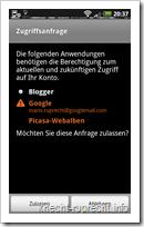 Blogger für Android: Zugriff auf Google-Konto