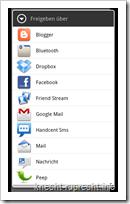 Blogger für Android: Link an die App senden
