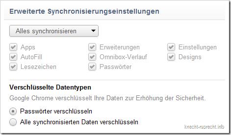 Chrome: Erweiterte Synchronisationseinstellungen