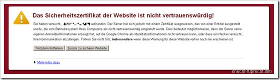 Das Sicherheitszertifikat der Webseite ist nicht vertrauenswürdig!