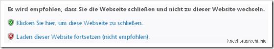 Es wird empfohlen, dass Sie die Webseite schließen und nicht zu dieser Website wechseln.
