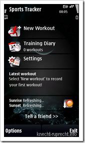 Sports Tracker: Startbildschirm