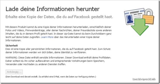 Facebook: Alle Infos in einer Datei