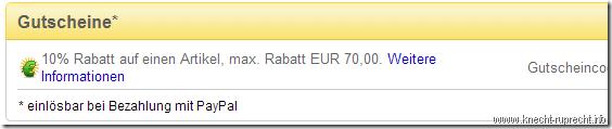 Gutschein 10% Rabatt mit Paypal