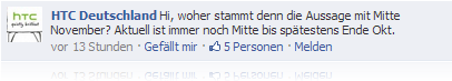 HTC bei Facebook