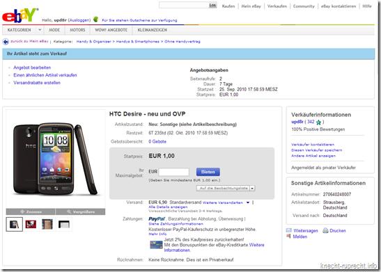 HTC Desire bei Ebay