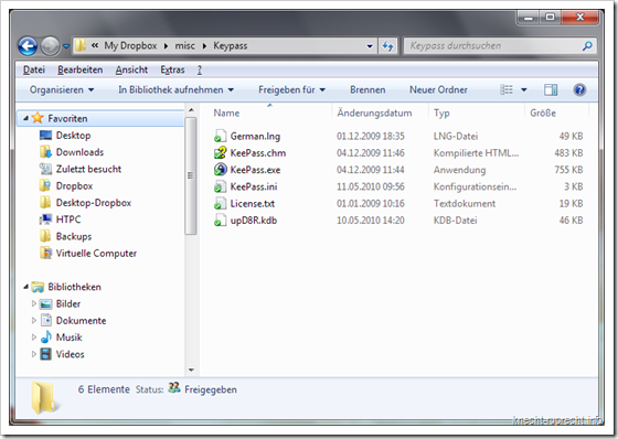 KeePass in der Dropbox