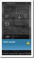 Kurzwahl beim N97: Nicht erlaubt
