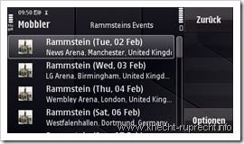 Mobbler v0.9 mit Tourdaten-Anzeige