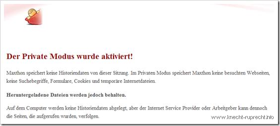 Maxthon 2.5.12: Privater Modus