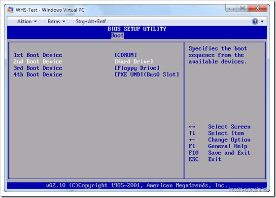 Bootreihenfole für Virtual PC