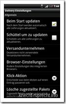 Pakete für Android: Einstellungen