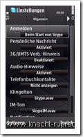 Skype für Symbian - Einstellungen