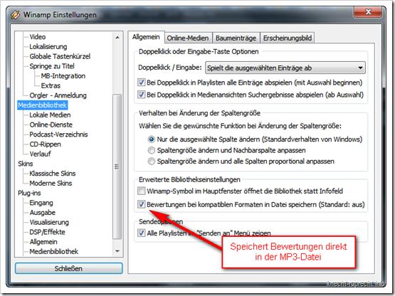Winamp: Bewertungen in Datei speichern