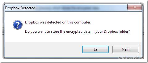 BoxCryptor: Dropbox erkannt
