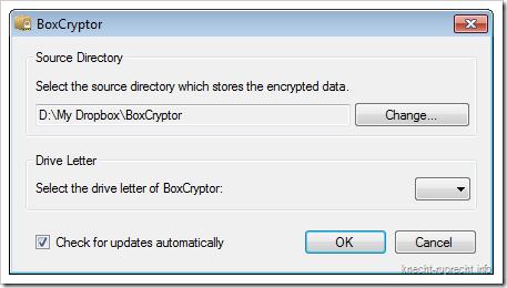BoxCryptor: Laufwerksbuchstaben und Zielverzeichnis festlegen